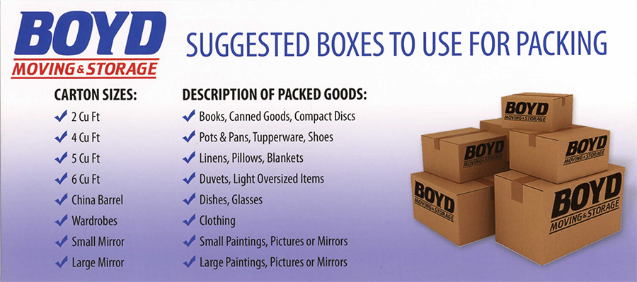 Boyd Moving Ottawa - order moving supplies list